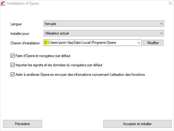 Path d'installation du logiciel Opera.