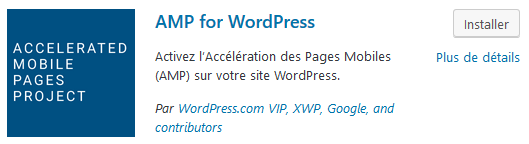 Installation de l'extension AMP for WordPress